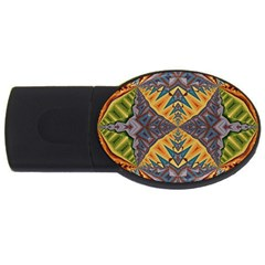 Kaleidoscopic Pattern Colorful Kaleidoscopic Pattern With Fabric Texture USB Flash Drive Oval (4 GB)
