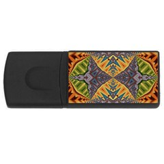 Kaleidoscopic Pattern Colorful Kaleidoscopic Pattern With Fabric Texture USB Flash Drive Rectangular (4 GB)