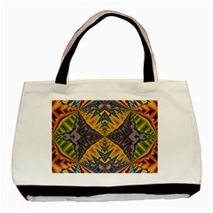 Kaleidoscopic Pattern Colorful Kaleidoscopic Pattern With Fabric Texture Basic Tote Bag