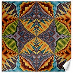 Kaleidoscopic Pattern Colorful Kaleidoscopic Pattern With Fabric Texture Canvas 12  x 12