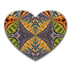 Kaleidoscopic Pattern Colorful Kaleidoscopic Pattern With Fabric Texture Heart Mousepads