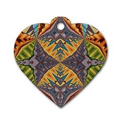 Kaleidoscopic Pattern Colorful Kaleidoscopic Pattern With Fabric Texture Dog Tag Heart (two Sides)