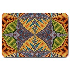 Kaleidoscopic Pattern Colorful Kaleidoscopic Pattern With Fabric Texture Large Doormat