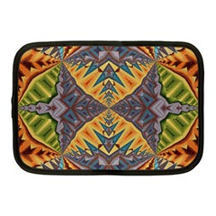 Kaleidoscopic Pattern Colorful Kaleidoscopic Pattern With Fabric Texture Netbook Case (Medium)