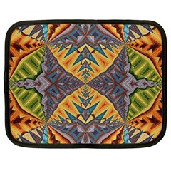 Kaleidoscopic Pattern Colorful Kaleidoscopic Pattern With Fabric Texture Netbook Case (Large)
