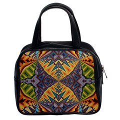 Kaleidoscopic Pattern Colorful Kaleidoscopic Pattern With Fabric Texture Classic Handbags (2 Sides)