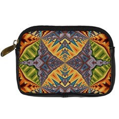 Kaleidoscopic Pattern Colorful Kaleidoscopic Pattern With Fabric Texture Digital Camera Cases