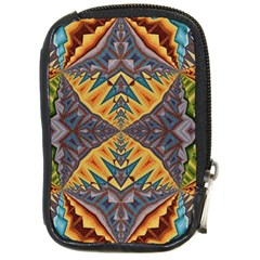 Kaleidoscopic Pattern Colorful Kaleidoscopic Pattern With Fabric Texture Compact Camera Cases