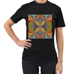 Kaleidoscopic Pattern Colorful Kaleidoscopic Pattern With Fabric Texture Women s T-Shirt (Black)
