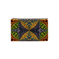 Kaleidoscopic Pattern Colorful Kaleidoscopic Pattern With Fabric Texture Cosmetic Bag (Small)