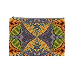 Kaleidoscopic Pattern Colorful Kaleidoscopic Pattern With Fabric Texture Cosmetic Bag (Large)