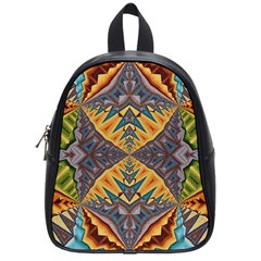 Kaleidoscopic Pattern Colorful Kaleidoscopic Pattern With Fabric Texture School Bags (small)