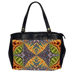 Kaleidoscopic Pattern Colorful Kaleidoscopic Pattern With Fabric Texture Office Handbags (2 Sides)