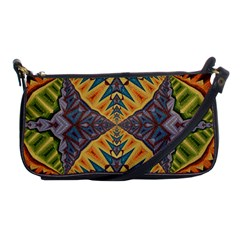 Kaleidoscopic Pattern Colorful Kaleidoscopic Pattern With Fabric Texture Shoulder Clutch Bags