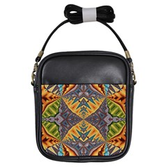 Kaleidoscopic Pattern Colorful Kaleidoscopic Pattern With Fabric Texture Girls Sling Bags