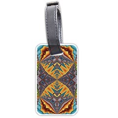 Kaleidoscopic Pattern Colorful Kaleidoscopic Pattern With Fabric Texture Luggage Tags (One Side)