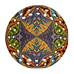 Kaleidoscopic Pattern Colorful Kaleidoscopic Pattern With Fabric Texture Round Filigree Ornament (two Sides)
