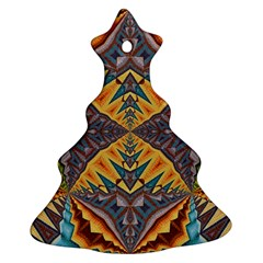 Kaleidoscopic Pattern Colorful Kaleidoscopic Pattern With Fabric Texture Christmas Tree Ornament (Two Sides)