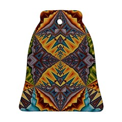 Kaleidoscopic Pattern Colorful Kaleidoscopic Pattern With Fabric Texture Bell Ornament (two Sides)
