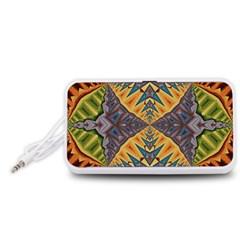 Kaleidoscopic Pattern Colorful Kaleidoscopic Pattern With Fabric Texture Portable Speaker (White)