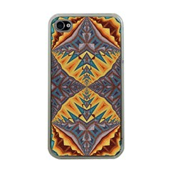 Kaleidoscopic Pattern Colorful Kaleidoscopic Pattern With Fabric Texture Apple iPhone 4 Case (Clear)