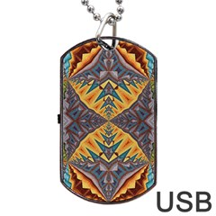 Kaleidoscopic Pattern Colorful Kaleidoscopic Pattern With Fabric Texture Dog Tag USB Flash (Two Sides)