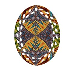 Kaleidoscopic Pattern Colorful Kaleidoscopic Pattern With Fabric Texture Oval Filigree Ornament (Two Sides)