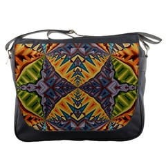 Kaleidoscopic Pattern Colorful Kaleidoscopic Pattern With Fabric Texture Messenger Bags