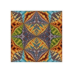 Kaleidoscopic Pattern Colorful Kaleidoscopic Pattern With Fabric Texture Acrylic Tangram Puzzle (4  X 4 )