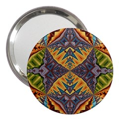 Kaleidoscopic Pattern Colorful Kaleidoscopic Pattern With Fabric Texture 3  Handbag Mirrors