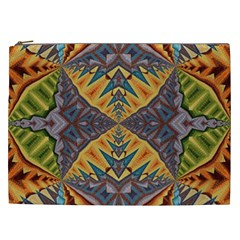 Kaleidoscopic Pattern Colorful Kaleidoscopic Pattern With Fabric Texture Cosmetic Bag (XXL)