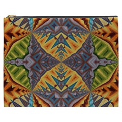 Kaleidoscopic Pattern Colorful Kaleidoscopic Pattern With Fabric Texture Cosmetic Bag (XXXL)