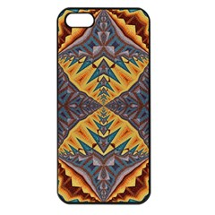 Kaleidoscopic Pattern Colorful Kaleidoscopic Pattern With Fabric Texture Apple iPhone 5 Seamless Case (Black)