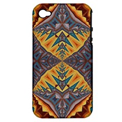 Kaleidoscopic Pattern Colorful Kaleidoscopic Pattern With Fabric Texture Apple Iphone 4/4s Hardshell Case (pc+silicone)
