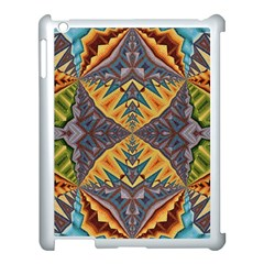 Kaleidoscopic Pattern Colorful Kaleidoscopic Pattern With Fabric Texture Apple iPad 3/4 Case (White)