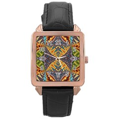Kaleidoscopic Pattern Colorful Kaleidoscopic Pattern With Fabric Texture Rose Gold Leather Watch
