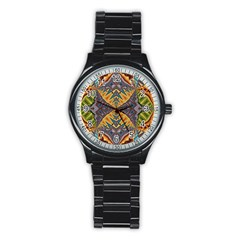 Kaleidoscopic Pattern Colorful Kaleidoscopic Pattern With Fabric Texture Stainless Steel Round Watch