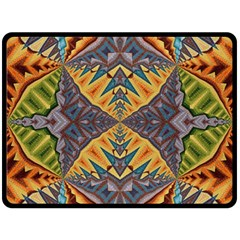 Kaleidoscopic Pattern Colorful Kaleidoscopic Pattern With Fabric Texture Double Sided Fleece Blanket (Large)