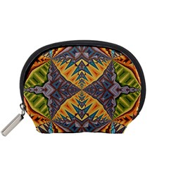 Kaleidoscopic Pattern Colorful Kaleidoscopic Pattern With Fabric Texture Accessory Pouches (small)