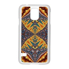 Kaleidoscopic Pattern Colorful Kaleidoscopic Pattern With Fabric Texture Samsung Galaxy S5 Case (White)