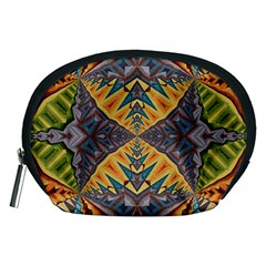 Kaleidoscopic Pattern Colorful Kaleidoscopic Pattern With Fabric Texture Accessory Pouches (Medium)