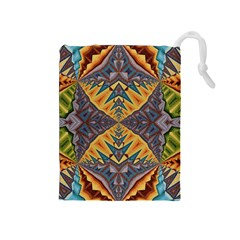 Kaleidoscopic Pattern Colorful Kaleidoscopic Pattern With Fabric Texture Drawstring Pouches (Medium)