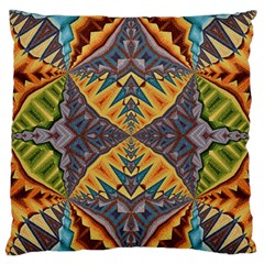 Kaleidoscopic Pattern Colorful Kaleidoscopic Pattern With Fabric Texture Large Flano Cushion Case (Two Sides)