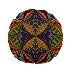 Kaleidoscopic Pattern Colorful Kaleidoscopic Pattern With Fabric Texture Standard 15  Premium Flano Round Cushions