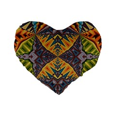 Kaleidoscopic Pattern Colorful Kaleidoscopic Pattern With Fabric Texture Standard 16  Premium Flano Heart Shape Cushions