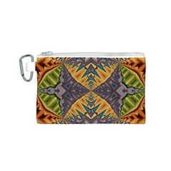 Kaleidoscopic Pattern Colorful Kaleidoscopic Pattern With Fabric Texture Canvas Cosmetic Bag (S)
