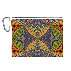 Kaleidoscopic Pattern Colorful Kaleidoscopic Pattern With Fabric Texture Canvas Cosmetic Bag (L)
