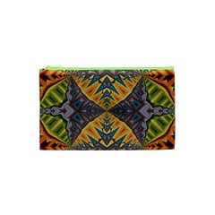Kaleidoscopic Pattern Colorful Kaleidoscopic Pattern With Fabric Texture Cosmetic Bag (XS)