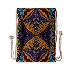 Kaleidoscopic Pattern Colorful Kaleidoscopic Pattern With Fabric Texture Drawstring Bag (small)