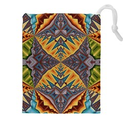 Kaleidoscopic Pattern Colorful Kaleidoscopic Pattern With Fabric Texture Drawstring Pouches (XXL)